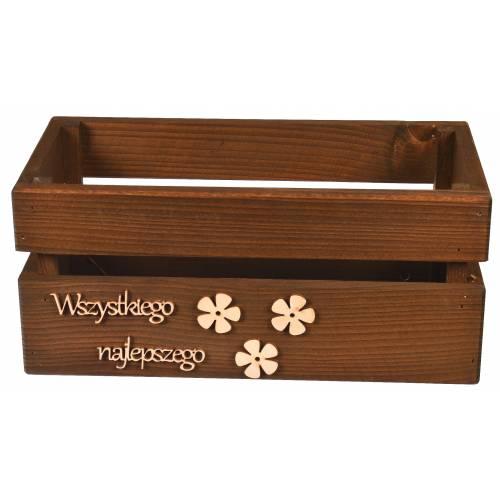 Drewniana skrzynka brązowana z napisem WSZYSTKIEGO NAJLEPSZEGO