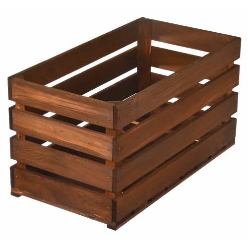 Drewniana skrzynka brązowa bejcowana organizer