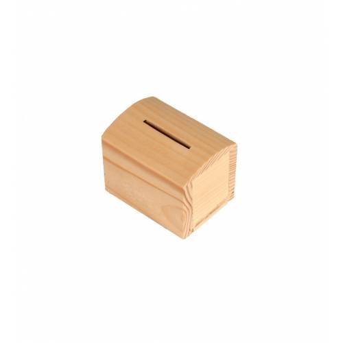 Skrzynka drewniana skarbonka otwierana na monety 8,5x6,5x7cm