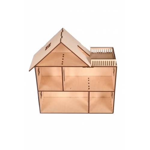 drewniany domek dla lalek z tarasem 2