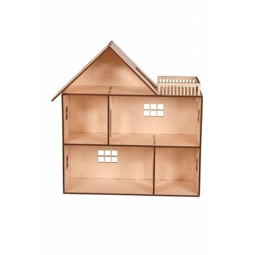 drewniany domek dla lalek z tarasem 3