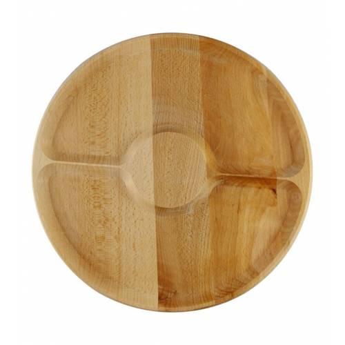 Drewniana okrągła tacka na przekąski DWIE przegrody