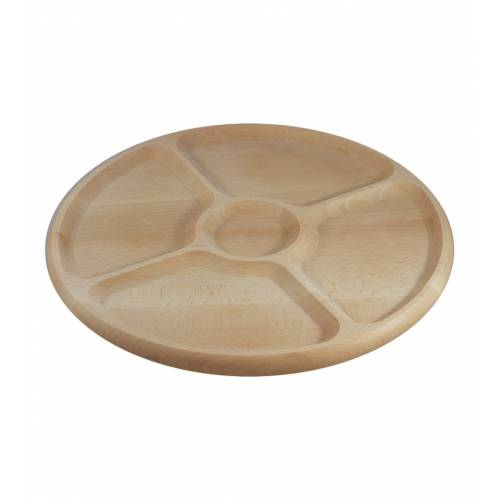 Drewniana okrągła tacka na przekąski 5 PRZEGRÓD