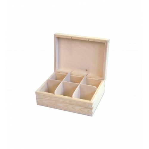 Pudełko drewniane prostokątne zamykane na herbatę H6
