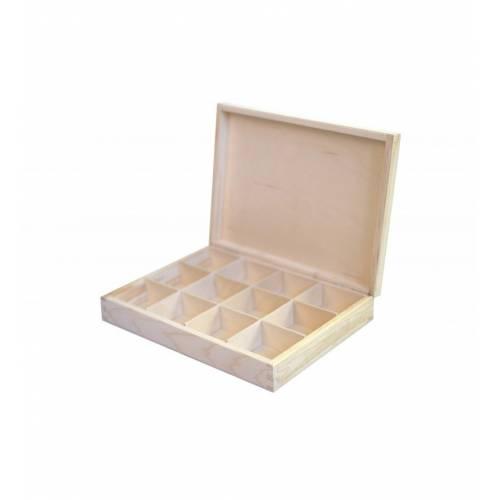Pudełko drewniane prostokątne zamykane na herbatę H12