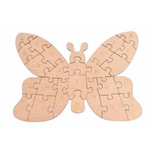Drewniane puzzle motylek do nauki alfabetu